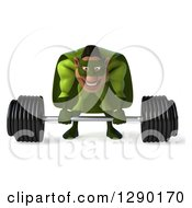 Clipart Of A 3d Male Black Super Hero In Green Lifting A Barbell Royalty Free Illustration