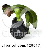Clipart Of A 3d Male Black Super Hero In Green Facing Left And Lifting A Barbell Royalty Free Illustration