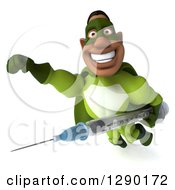 Clipart Of A 3d Male Black Super Hero In Green Flying With A Vaccine Syringe Royalty Free Illustration