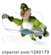 Clipart Of A 3d Male Black Super Hero In Green Flying With A Vaccine Syringe 2 Royalty Free Illustration