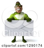 Clipart Of A 3d Male Black Super Hero In Green Holding A Giant Envelope Royalty Free Illustration