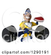 Clipart Of A 3d Muscular Black Male Super Hero In A Yellow And Blue Suit Holding Up A Barbell And A Beef Steak Royalty Free Illustration