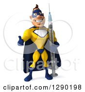 Clipart Of A 3d Muscular White Male Super Hero In A Yellow And Blue Suit Holding A Thumb Up And Standing With A Vaccine Syringe Royalty Free Illustration