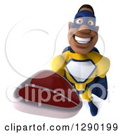 Clipart Of A 3d Muscular Black Male Super Hero In A Yellow And Blue Suit Holding Up A Beef Steak Royalty Free Illustration
