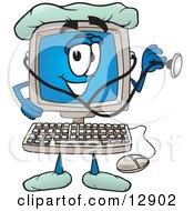 Desktop Computer Mascot Cartoon Character Doctor Holding A Stethoscope