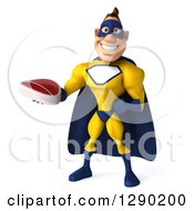 Clipart Of A 3d Muscular White Male Super Hero In A Yellow And Blue Suit Holding A Beef Steak Royalty Free Illustration