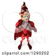 Clipart Of A 3d Muscular White Male Super Hero In A Red Suit Eating And Pointing To A Waffle Ice Cream Cone Royalty Free Illustration