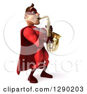 Clipart Of A 3d Muscular White Male Super Hero In A Red Suit Facing Right And Playing A Saxophone Royalty Free Illustration