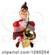 Clipart Of A 3d Muscular White Male Super Hero In A Red Suit Playing A Saxophone Royalty Free Illustration