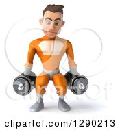Clipart Of A 3d Young Brunette White Male Super Hero In An Orange Suit Doing Squats With Dumbbells Royalty Free Illustration