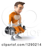 Clipart Of A 3d Young Brunette White Male Super Hero In An Orange Suit Facing Right And Doing Squats With Dumbbells Royalty Free Illustration