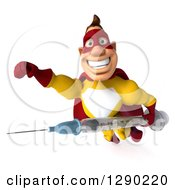 Clipart Of A 3d Muscular Yellow And Red Caucasian Super Hero Man Flying With A Vaccine Syringe Royalty Free Illustration