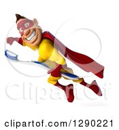 Clipart Of A 3d Muscular Yellow And Red Caucasian Super Hero Man Flying With A Toothbrush Royalty Free Illustration