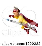 Clipart Of A 3d Muscular Yellow And Red Caucasian Super Hero Man Flying To The Left With A Vaccine Syringe Royalty Free Illustration