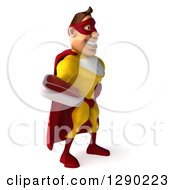 Clipart Of A 3d Muscular Yellow And Red Caucasian Super Hero Man Facing Right And Holding A Beef Steak Royalty Free Illustration