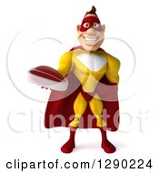 Clipart Of A 3d Muscular Yellow And Red Caucasian Super Hero Man Holding A Beef Steak Royalty Free Illustration