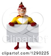Clipart Of A 3d Muscular Yellow And Red Caucasian Super Hero Man Holding A Giant Envelope Royalty Free Illustration
