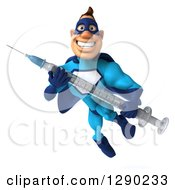 Clipart Of A 3d Caucasian Blue Male Super Hero Flying With A Vaccine Syringe Royalty Free Illustration