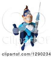 Clipart Of A 3d Caucasian Blue Male Super Hero Holding Up A Thumb And A Vaccine Syringe Royalty Free Illustration