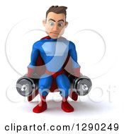 Clipart Of A 3d Young Brunette White Male Super Hero In A Blue And Red Suit Squatting With Dumbbells Royalty Free Illustration