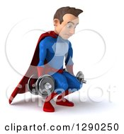 Clipart Of A 3d Young Brunette White Male Super Hero In A Blue And Red Suit Facing Slightly Right And Squatting With Dumbbells Royalty Free Illustration