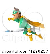 Clipart Of A 3d Muscular White Male Super Hero In A Green And Yellow Suit Flying And Holding A Vaccine Syringe Royalty Free Illustration