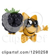 Clipart Of A 3d Happy Sun Character Wearing Sunglasses Facing Slightly Right And Jumping With A Blackberry Royalty Free Illustration