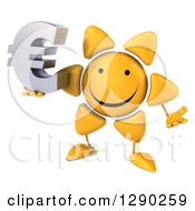 Clipart Of A 3d Happy Sun Character Shrugging And Holding A Euro Symbol Royalty Free Illustration