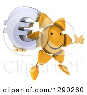 Clipart Of A 3d Happy Sun Character Facing Slightly Right Jumping And Holding A Euro Symbol Royalty Free Illustration