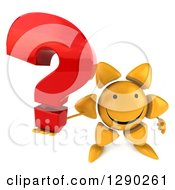 Clipart Of A 3d Happy Sun Character Holding Up A Question Mark Royalty Free Illustration