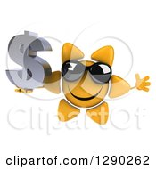 Clipart Of A 3d Happy Sun Character Wearing Shades Jumping And Holding A Dollar Symbol Royalty Free Illustration