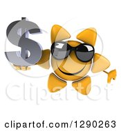 Clipart Of A 3d Happy Sun Character Wearing Shades Holding A Thumb Down And A Dollar Symbol Royalty Free Illustration