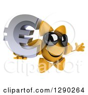Clipart Of A 3d Happy Sun Character Wearing Shades Facing Slightly Right Jumping And Holding A Euro Symbol Royalty Free Illustration