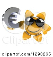 Clipart Of A 3d Happy Sun Character Wearing Shades Holding And Pointing To A Euro Symbol Royalty Free Illustration