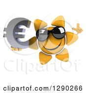Clipart Of A 3d Happy Sun Character Wearing Shades Holding Up A Finger And A Euro Symbol Royalty Free Illustration