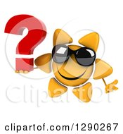 Clipart Of A 3d Happy Sun Character Wearing Sunglasses Shrugging And Holding A Question Mark Royalty Free Illustration