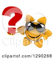 Clipart Of A 3d Happy Sun Character Wearing Sunglasses Holding And Pointing To A Question Mark Royalty Free Illustration