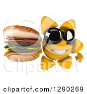 Clipart Of A 3d Happy Sun Character Wearing Shades And Holding Up A Double Cheeseburger Royalty Free Illustration