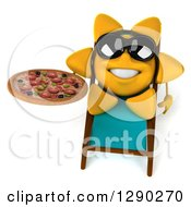 Clipart Of A 3d Happy Sun Character Wearing Shades And Holding A Pizza In A Chaise Lounge Royalty Free Illustration