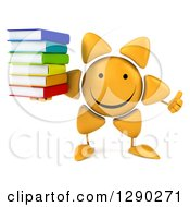 Clipart Of A 3d Happy Sun Character Giving A Thumb Up And Holding A Stack Of Books Royalty Free Illustration