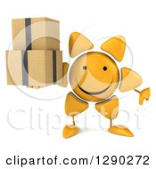 Clipart Of A 3d Happy Sun Character Holding A Thumb Down And Boxes Royalty Free Illustration