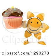Clipart Of A 3d Happy Sun Character Holding And Pointing To A Chocolate Frosted Cupcake Royalty Free Illustration