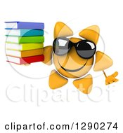 Clipart Of A 3d Happy Sun Character Wearing Shades Shrugging And Holding A Stack Of Books Royalty Free Illustration