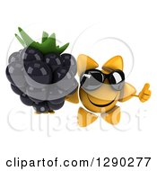 Clipart Of A 3d Happy Sun Character Wearing Sunglasses Holding Up A Thumb And A Blackberry Royalty Free Illustration
