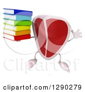 Clipart Of A 3d Beef Steak Character Jumping And Holding A Stack Of Cook Books Royalty Free Illustration by Julos