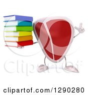 Clipart Of A 3d Beef Steak Character Holding Up A Finger And A Stack Of Cook Books Royalty Free Illustration