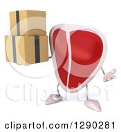 Clipart Of A 3d Beef Steak Character Shrugging And Holding Boxes Royalty Free Illustration