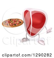 Clipart Of A 3d Beef Steak Character Shrugging And Holding A Pizza Royalty Free Illustration