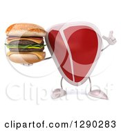 Clipart Of A 3d Beef Steak Character Holding Up A Finger And A Double Cheeseburger Royalty Free Illustration