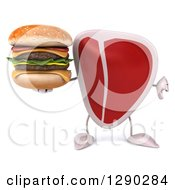 Clipart Of A 3d Beef Steak Character Holding A Thumb Down And A Double Cheeseburger Royalty Free Illustration
